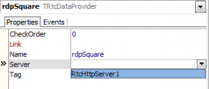 Server Property for RtcDataProvider component